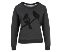 Sweatshirt 'Love Birds' graumeliert