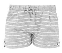 Jersey-Hotpants mit Ringeln grau