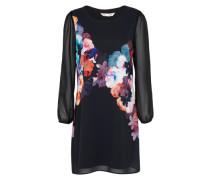 Kleid mit Blumen-Print mischfarben / schwarz