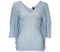 V-Pullover mit Strickmix hellblau