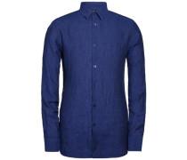 Leinen Melange-Hemd 'Daniel' blue denim