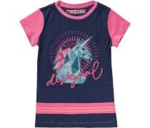 T-Shirt mit Pailletten für Mädchen Einhorn blau