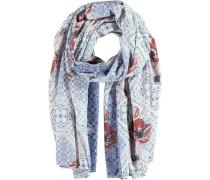 Polyester-Baumwoll-Schal himmelblau / rostrot / weiß