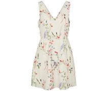Blumen-Kleid ohne Ärmel beige