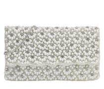 Abendtasche mit Perlen silber