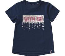 T-Shirt mit Wendepailletten blau