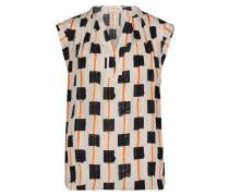 Kurzarm-Bluse mit Muster weiß / dunkelgrau