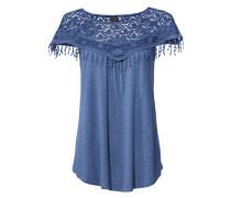 Spitzenshirt mit Rundhalsausschnitt blue denim