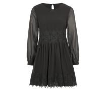 Chiffon-Kleid mit Unterkleid schwarz