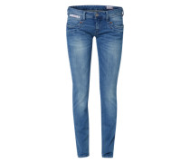 'Piper' Schmale Denim in Used-Optik blau