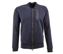 Jacke »Classic bomber sweat with zip pocket and nylon tap« blau