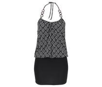 Neckholder-Minikleid schwarz / weiß