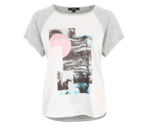 Print-Shirt mit Raglan-Ärmeln grau