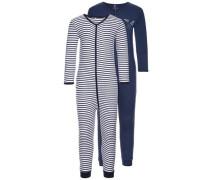 Schlafanzug 2er-Pack Reißverschluss- blau