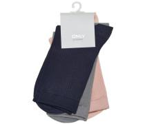 Socken Detailreiche basaltgrau / rosa / schwarz