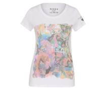 T-Shirt mit Frontprint 'Flamingo' mischfarben / weiß