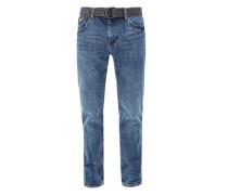Tubx Straight: Jeans mit Gürtel blue denim