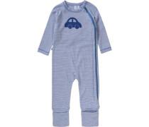 Baby Schlafstrampler für Jungen aus Organic Cotton blau / weiß