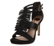 Stiletto-Sandale mit Blätter-Applikation schwarz