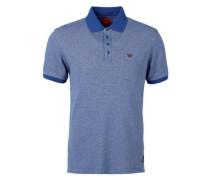 Meliertes Poloshirt mit Brusttasche blau