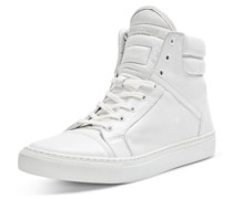 Elegante High-Top-Lederschuhe weiß