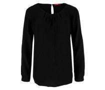 Crêpe-Bluse mit Falten schwarz