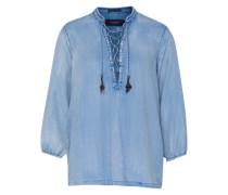 Denim Bluse mit Schnürung blau