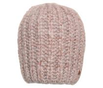 Strickmütze mit Lurex rosé / grau