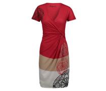 Kleid 'karlie' dunkelbeige / grau / rot