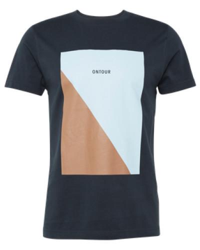 Shirt 'diagonal' beige / navy / hellblau