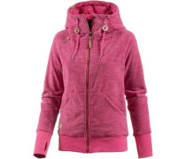 'Terry Zip' Fleecejacke pinkmeliert
