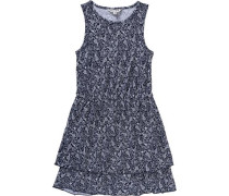 Kinder Jerseykleid mit All-Over-Print blau / nachtblau / dunkelblau / weiß