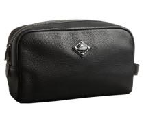 Ledermix Kultur-Tasche schwarz