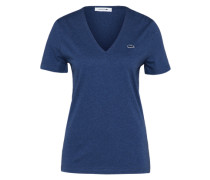 T-Shirt mit Label-Applikation dunkelblau