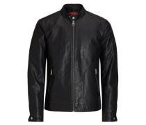 Kunstleder-Biker-Jacke schwarz