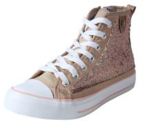 Hoher Sneaker mit Pailletten rosé