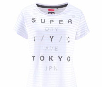 T-Shirt 'nyc Burnout Stripe BF Tee' grau / weiß