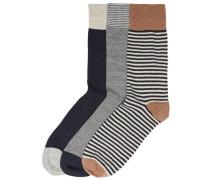 Socken 3er-Pack beige / nachtblau / hellbraun / grau