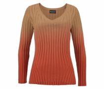 V-Ausschnitt-Pullover beige / orange