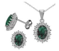 "Ohrstecker und Halskette ""Smaragd-Optik"" (4tlg.) silber"