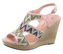 Sandalette in trendigen Ethno-Look hellblau / hellgrün / dunkellila / rosa