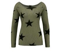 Pullover mit Sternen khaki / schwarz