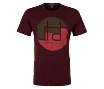 T-Shirt mit Print und Wording braun / bordeaux / hellrot