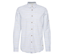 Hemd 'loose fitted patterned shirt' blau / weiß