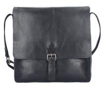 'Scott' Messenger Tasche Leder 30 cm Laptopfach schwarz
