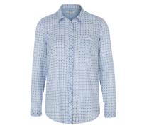Bluse im Allover-Muster blau / weiß