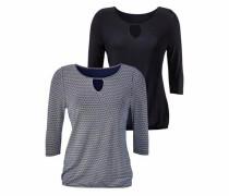 ¾-Shirts (2 Stück) blau / schwarz / weiß