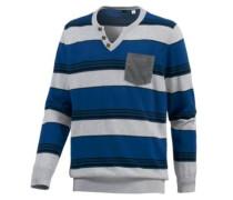 V-Pullover blau / grau