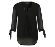 Bluse in Wickeloptik schwarz