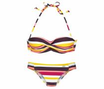 Bügel-Bandeau-Bikini gelb / dunkellila / pink / weiß